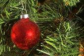 stock photo of christmas ornament  - A very colorful Christmas ornamental glass ball - JPG