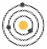 Halftone Circle Solar System Icon. Pictogram On A White Background. Vector Mosaic Of Solar System Ic poster