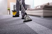 Low Section Of A Person Cleaning The Carpet With Vacuum Cleaner In Living Room poster