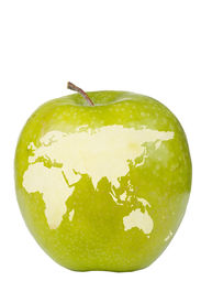 stock photo of eastern hemisphere  - Apple depicting the eastern hemisphere of the globe - JPG