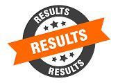Results Sign. Results Orange-black Round Ribbon Sticker poster