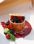 Berry dessert on plate, cloe-up