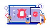 Data Protection, Internet Security Concept. Phone, Laptop Security Vector Illustration. Tiny Flat Co poster