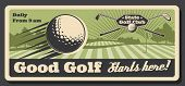 Golf Club Tournament And Sport Training Course Retro Vintage Poster. Vector Professional Golf Champi poster