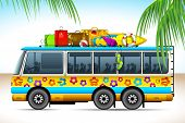 illustration of trip on bus with travel object on roof