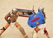 TARRAGONA, SPAIN - MAY 26: Gladiators on the arena of Roman Amphitheater on May 26, 2012 in Tarragon