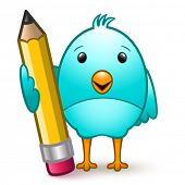 Vector cute bluebird cartoon character holding a giant pencil.  Transparent ground shadows.  EPS10.