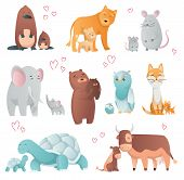 Collection Of Animals Mom And Baby. Cartoons Cute Animals In Flat Style. Print For Clothes. Vector I poster