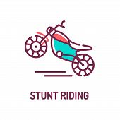 Stunt Riding A Motorcycle Color Line Icon On White Background. Extreme. Motorcycle Tricks. Pictogram poster