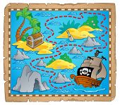 Treasure map theme image 3 - vector illustration.