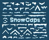 Snow Cap With Icicle Ornament Graphic. Winter Decoration Element With Snow Pile And Icicles For Flat poster