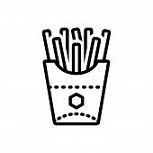 Black Line Icon For French-fries French Fries  Potato-chips Calories Snack poster