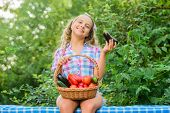 Eco Farming. Girl Cute Smiling Child Living Healthy Life. Healthy Lifestyle. Eat Healthy. Summer Har poster
