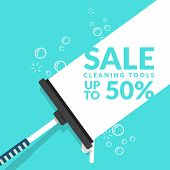 Vector Of Squeegee Scraping On Blue Background With Bubble Foam And Text For Advertisement Of Cleani poster