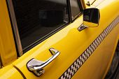 vintage checkered taxicab