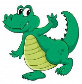 Cute cartoon crocodile on white