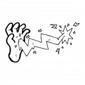cartoon lightning hand