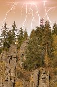 The Granite Rock Town Of Svatoš Rocks And  Lightning / Svatosske Skaly.traditional Cruise Place. Nat poster