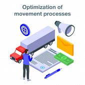 Optimization Of Movement Process Concept Banner. Isometric Illustration Of Optimization Of Movement  poster