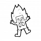 cartoon odd square person