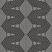Vector Monochrome Geometric Seamless Pattern With Stars, Thin Broken Lines, Zigzag, Net, Lattice. Si poster