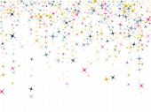 Pink Blue Gold Vector Star Background Sparkle Pattern. Premium Colored Confetti Of Flying Stars, Mag poster