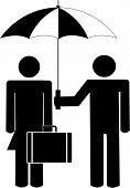 Stick Man Holding Umbrella For Business Woman poster