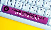 Conceptual Hand Writing Showing A Goal Without A Plan Is Just A Wish. Business Photo Text Make Strat poster