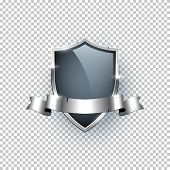 Premium Badge Realistic Vector Illustration. Silver Label With Ribbon And Text Space On Transparent  poster