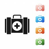 Black Pet First Aid Kit Icon Isolated On White Background. Dog Or Cat Paw Print. Clinic Box. Set Ico poster