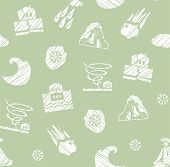 Weather, Natural Disasters, Seamless Pattern, Hatching, Vector, Green. Images Of Various Natural Dis poster