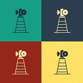 Color Antenna Icon Isolated On Color Background. Radio Antenna Wireless. Technology And Network Sign poster