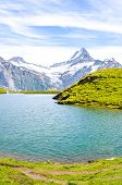 Amazing Bachalpsee Lake In The Swiss Alps Photographed With Famous Mountain Peaks Eiger, Jungfrau, A poster