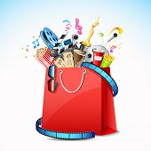 illustration of package of movie with cinema object in shopping bag