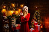 Young Santa Woman Holding Glass Of Wedow Champagne Celebrates Christmas Indoor At Beautiful Decorate poster