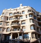 Barcelona La Pedrera facade by Gaudi architect in Paseo de Gracia