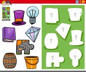 Cartoon Illustration Of Match Objects And The Right Shape Or Silhouette With Objects Educational Gam poster