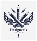 Idea Is A Weapon Concept, Weapon Of A Designer Or Artist Allegory Shown As A Winged Firearm Cartridg poster