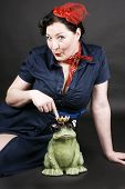 pic of rockabilly  - Rockabilly girl having fun with her frog shaped prince - JPG
