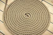Old Nautical Thick Rope Wrapped In Spiral On Weathered Deck Of Yacht poster