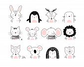 Poster With Cute Animal Portraits For A Card, Baby Shower, Sticker For A Children S Bedroom. Doodle  poster