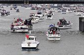 LONDON, UK - JUNE 3: Hundreds of boats muster on the river Thames in Putney for the Thames Diamond J