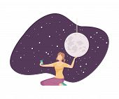Young Girl Making Selfie With Galaxy Installation In Planetarium Vector Illustration poster