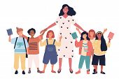 Group Of Joyful Multiethnic Schoolchildren And Female Teacher Standing Together. Pretty Young Woman  poster