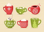 Christmas Cups Flat Vector Illustrations Set. Festive Mugs With Ornaments, Snowflakes And Lettering. poster