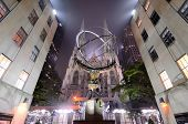 NEW YORK CITY - MAY 15: St. Patrick's Cathedral behind the Atlas statue, one of 12 pieces created by