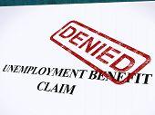 Reclamo de beneficios de desempleo negó estampilla muestra el bienestar de la Seguridad Social se negó