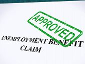 Unemployment Benefit Claim Approved Stamp Shows Social Security Welfare Agreed
