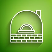 White Line Brick Stove Icon Isolated On Green Background. Brick Fireplace, Masonry Stove, Stone Oven poster