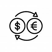 Black Line Icon For Money Exchange Currency Convert poster